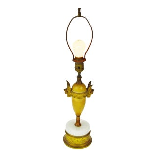Vintage White Stone & Brass Cherub Boudoir Lamp