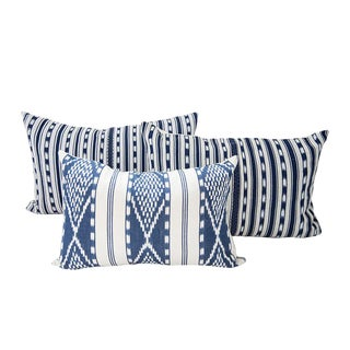 Indigo Ikat Guatemalan Pillows - Set of 3