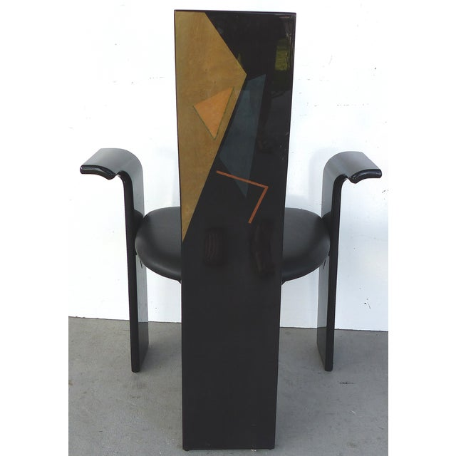 Lacquered Chairs with Painted Backs - Set of 4 - Image 5 of 6