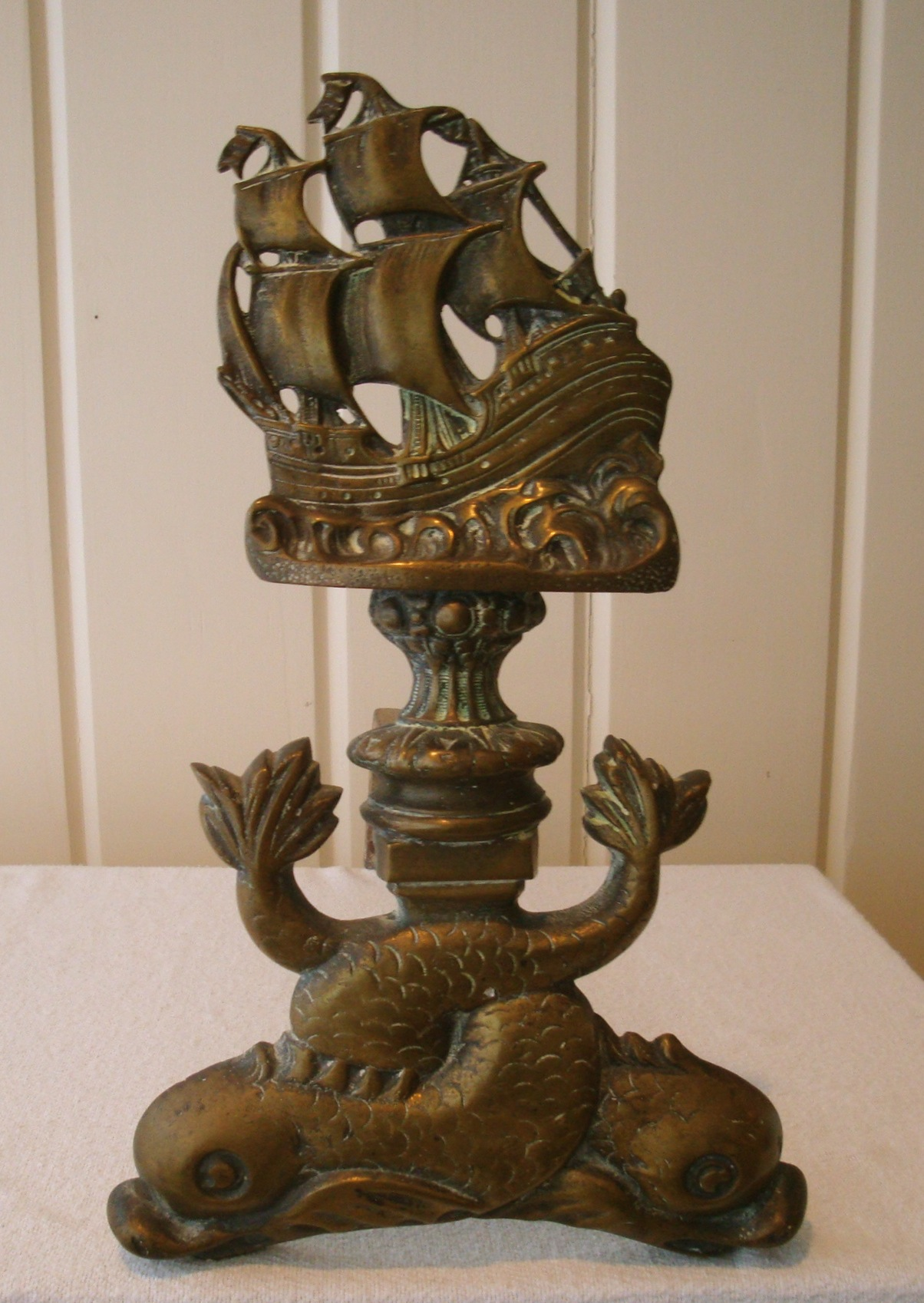 Vintage Fireplace Andirons Galleon Dolphin Fish Pair Chairish