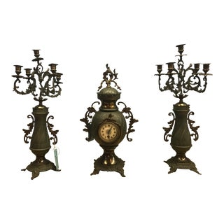 Antique Clock and Two Candlestick Holders - Set of 3