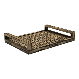 Malaysian Modern Bamboo Inlaid Serving Tray with Handles