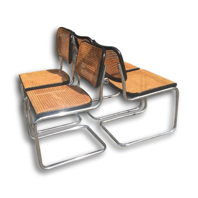 Image of Vintage Marcel Breuer Chrome/Cane Chairs - 4