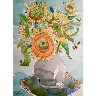 Sunflower & Bee Original Watercolor Painting