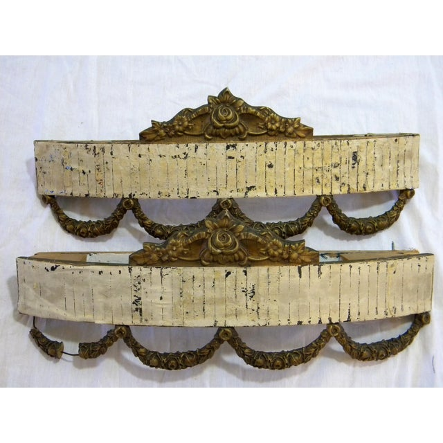 Antique Bed Corona Headboards - A Pair - Image 2 of 6