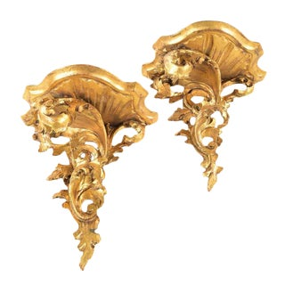 Antique Rococo Gilt Wood Wall Brackets- A Pair
