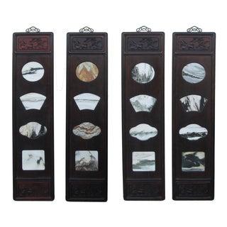 Chinese Dream Stone Scene Wall Panels - Set of 4