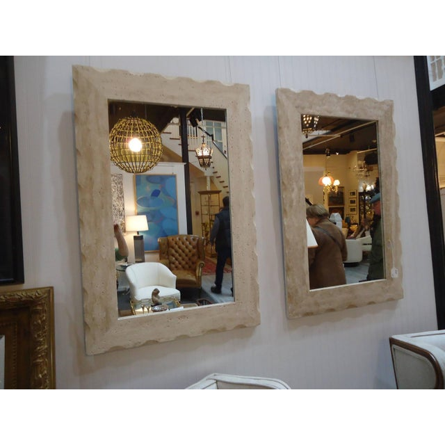 Modern Travertine Mirrors - A Pair - Image 3 of 5