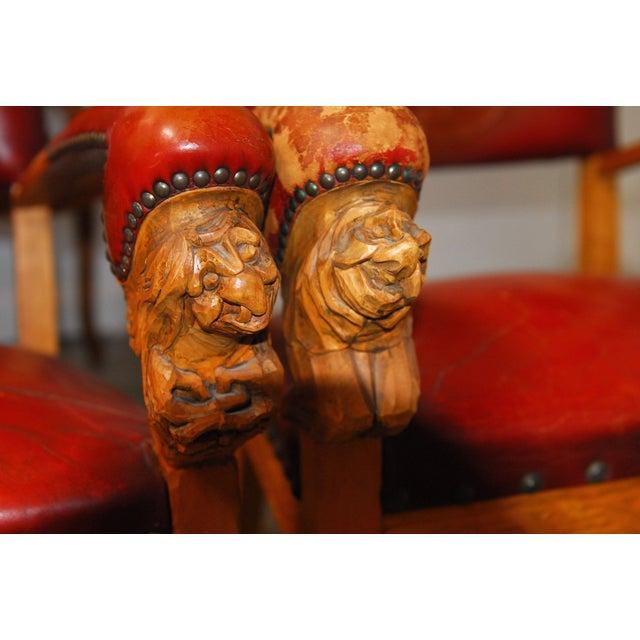 Norwegian Folk Art Leather Armchairs - Set of 4 - Image 9 of 10