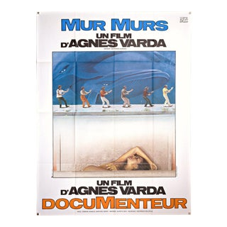 "Vintage 1981 large French poster for Agnes Varda's film ""MurMurs"""