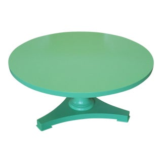 Baker Furniture Lacquered Painted Green Pedestal Coffee Cocktail Table