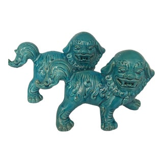 Turquoise Asian Ceramic Foo Dogs - A Pair
