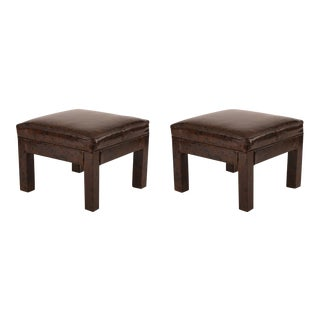 Spotted Leather Ottomans - Pair