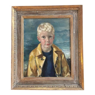 Mid Century Child Oil Portrait by Peter Cooke