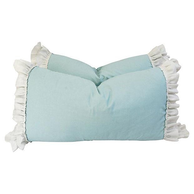Desginer French Linen & Ruffle Trim Pillows - Pair - Image 2 of 4