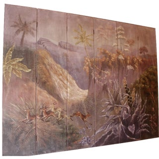 Vintage 6-Panel Hand-Painted Screen