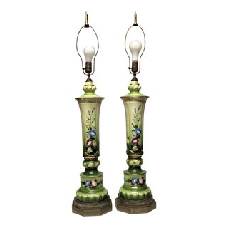 Huge Mid-Century 1.5' Signed Hand Painted Floral Porcelain & Brass Fretwork Base Lamps a Pair