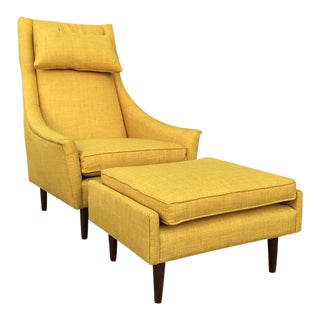 Mustard Upholstered Lounge Chair & Ottoman