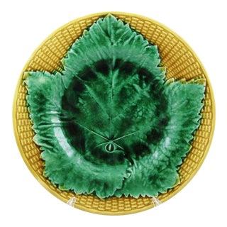 19th Century Josiah Wedgwood Majolica Basket & Leaf Plate