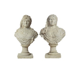Spectacular and Probably Unique Pair of Carved Coral Busts of Aristocratic Women
