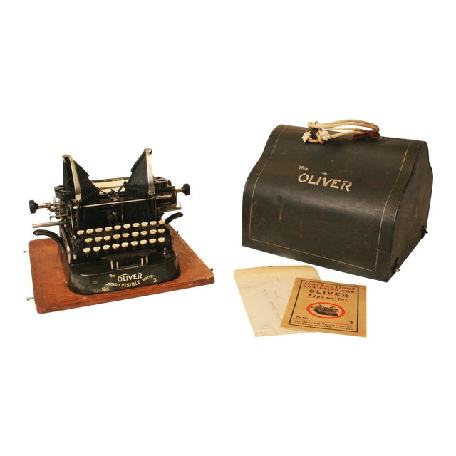 Vintage Oliver No 3 Typewriter With Case & Instructions - Image 1 of 11