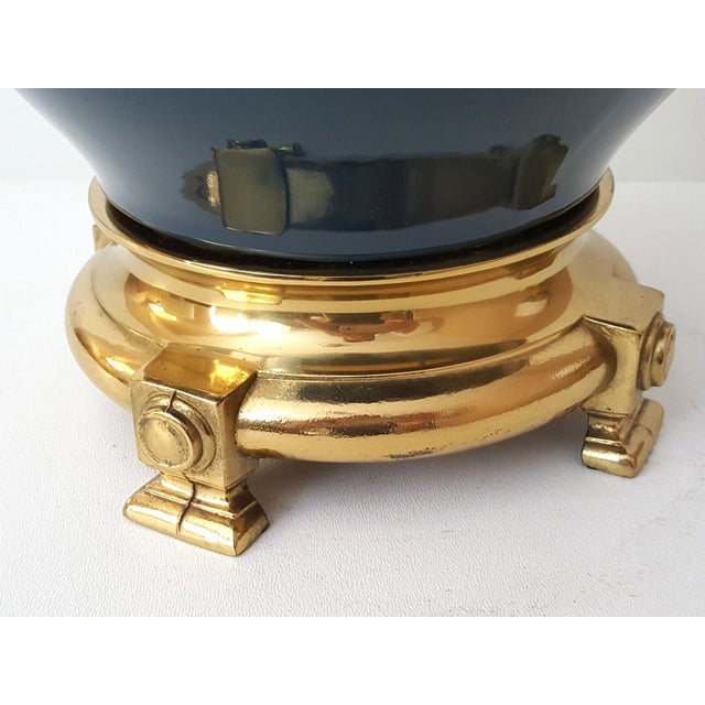 Image of Vintage Asian Blue Ceramic Lamp