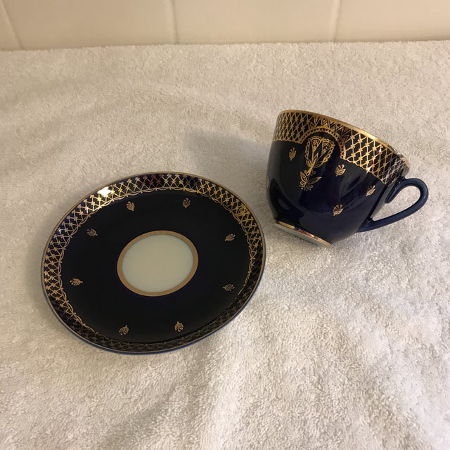 Vintage Russian Lomonosov Cobalt Blue & Gold Tea Cup - Image 4 of 10