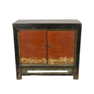 Distressed Gansu Black & Red Cabinet