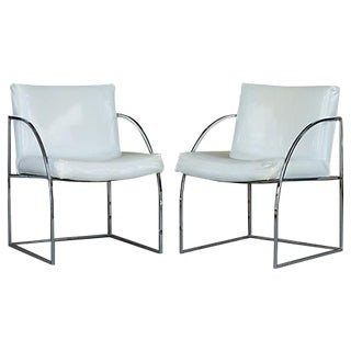 Thayer Coggin Milo Baughman Chrome Chairs - a Pair