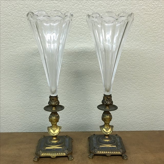 Image of French Antique Glass Vases - Pair
