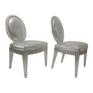 Donghia Silver Leaf & Silver Metallic Leather Neoclassical Chairs - A Pair
