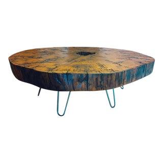 Organic Live Edge Maple Slab Circle-Cut Coffee Table