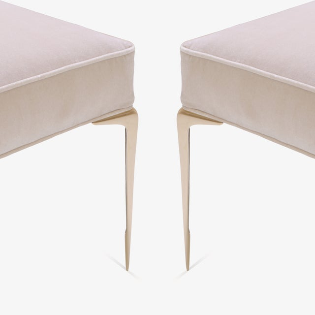 Colette Brass Ottomans in Nude Velvet by Montage, Pair - Image 5 of 7