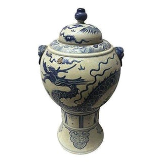 Blue & White Hand-Painted Dragon Altar Urn