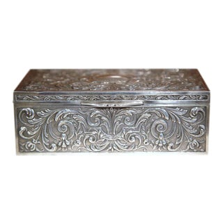 French Wooden Repousse Silver Plated Jewelry Box