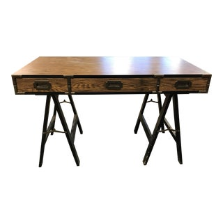 Campaign Desk Black and Brown With Trestle Legs