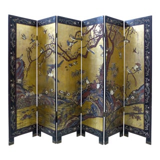 Early 20th-C. Chinese Coromandel 6-Panel Screen