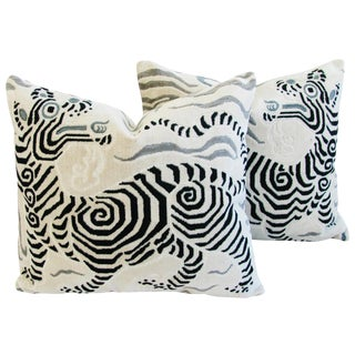 "24"" X 22"" Custom Tailored Clarence House Tibet Dragon Fabric Feather/Down Pillows - Pair"