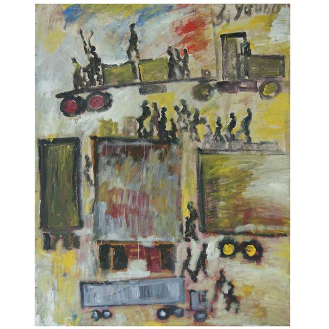 "Image of Purvis Young ""Trucks in the City"" painting"