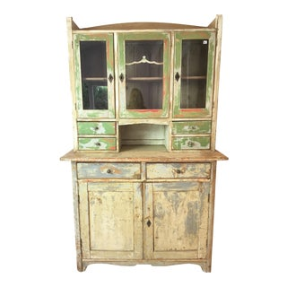 Vintage Shabby Chic Farmhouse Cabinet and Hutch