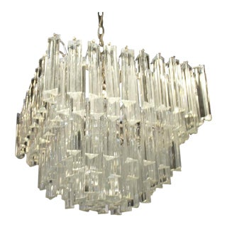 Vintage Italian Camer Glass Brass Five-Tier Murano Chandelier