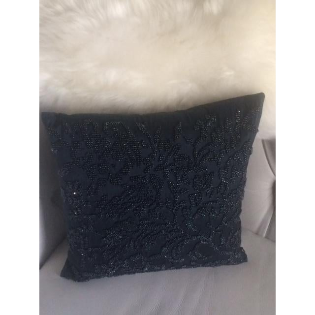 Image of Ralph Lauren Vintage Blue Beaded Silk Pillow