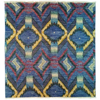 """Ikat, Hand Knotted Area Rug - 6' 1"""" X 6' 4"""""""
