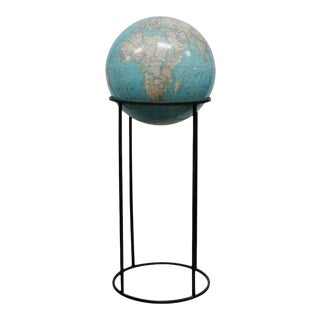 1970s National Geographic Society Globe on Brass Stand