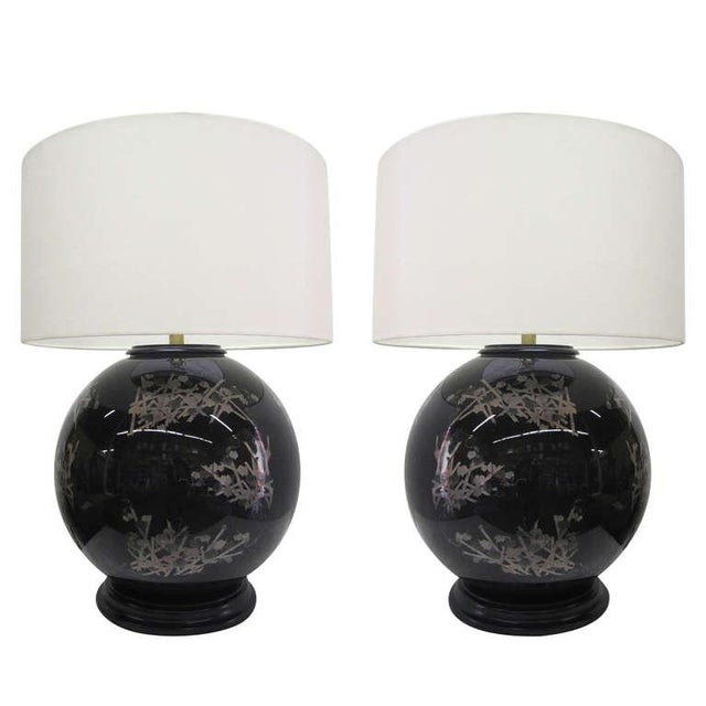 Image of Midcentury Glass Japanese Style Table Lamps - Pair