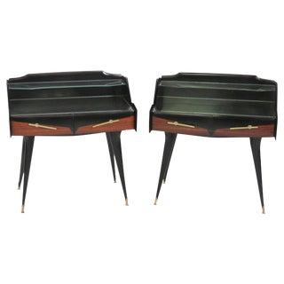 Ico Parisi Style Teak & Ebonized Side Tables - A Pair