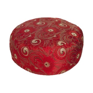 Red Retro Silk Brocade Buddha Seat