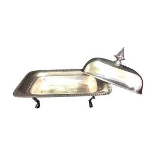 Vintage Silver Plated Footed Butter Dish