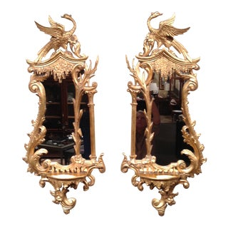 Georgian Gilt Wood Carved Mirrors & Shelf - a Pair