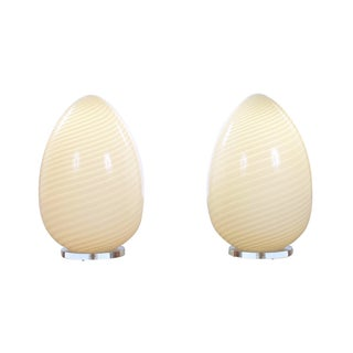 Murano Vetri Hand Blown Egg Lamps - A Pair